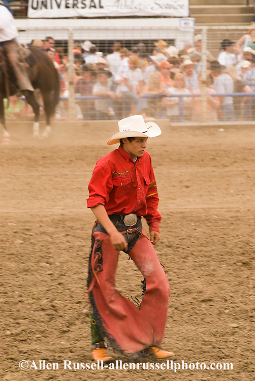 Saddle bronc rider after bucked off at Miles City Bucking Horse Sale, Miles City Montana,  <br /> MODEL RELEASED RIDER ONLY