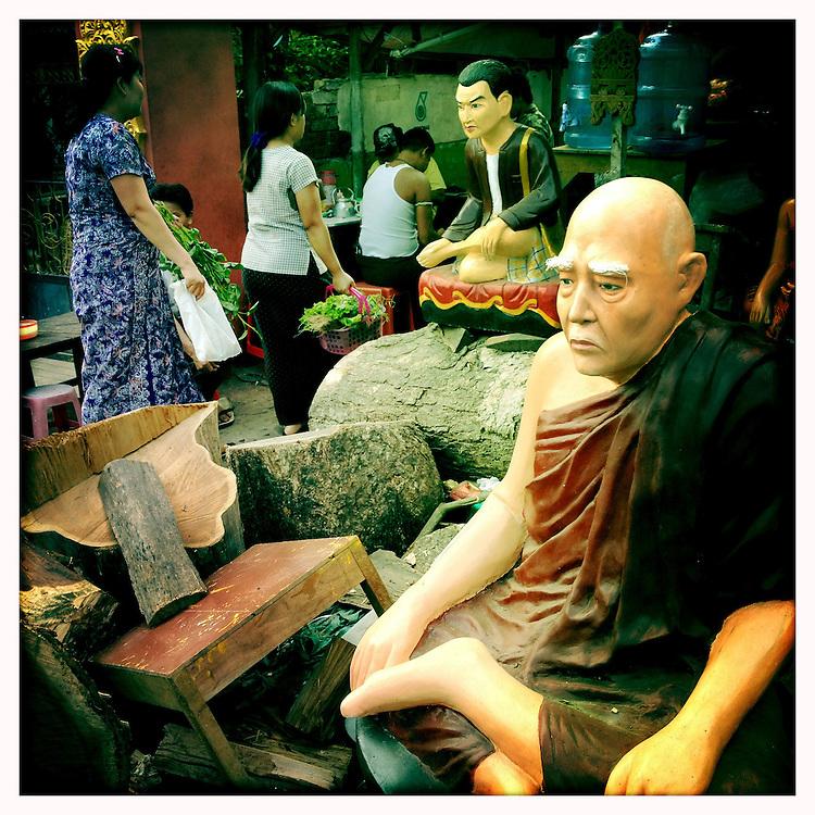 Buddha carving, Yangon (Rangoon) Myanmar (Burma) January 2012