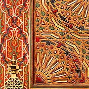 Ornate painted door on Kairaouine Mosque in the medina in Fez. The mosque was built in the 9th century AD and is considered the most important in Morocco.