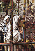 Jesus teaching in the Synagogue. Matthew:4.  Illustration by J.J.Tissot for his 'Life of Our Saviour Jesus Christ', 1897. Oleograph.