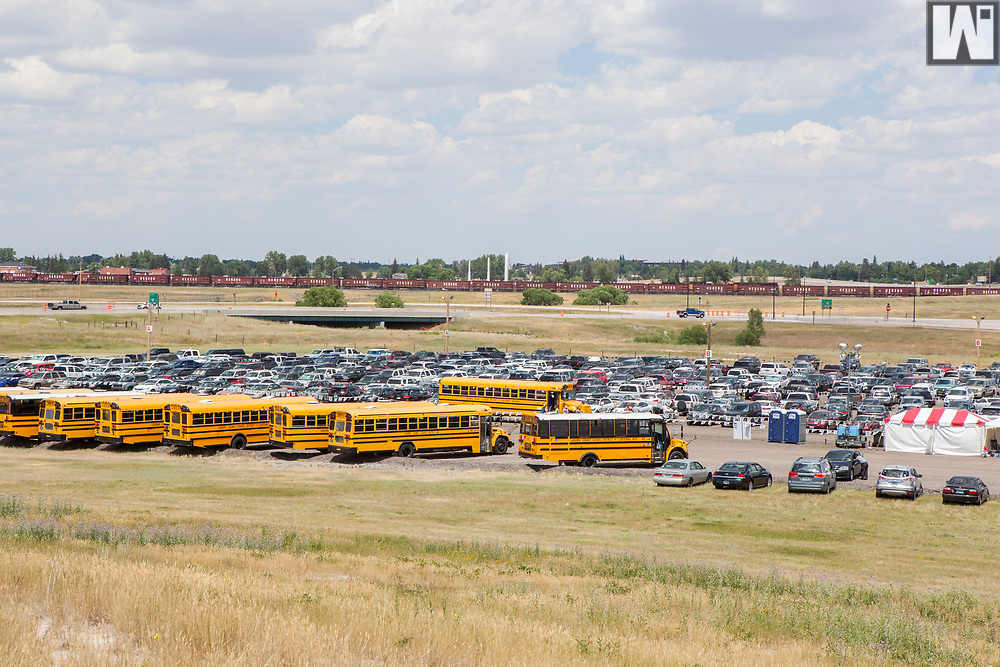 Parking for Cheyenne Frontier Days at Happy Jack Road/Missile Drive and Interstate 25 in Cheyenne, Wyoming.