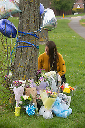© Licensed to London News Pictures. 16/04/2019.<br /> Orpington, UK. Flowers and balloons have been placed at the scene of Saturday nights RTC by friends and family. An Eleven year old school boy called Josh was struck by a car while crossing Court road in Orpington, South East London, He was taken to hospital with critical injuries but has sadly died. Photo credit: Grant Falvey/LNP