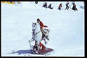 Cosmo Hulton & David Kirke. Dangerous Sports Club ski race. St. Moritz. 1984.<br />© Copyright Photograph by Dafydd Jones<br />66 Stockwell Park Rd. London SW9 0DA<br />Tel 0171 733 0108