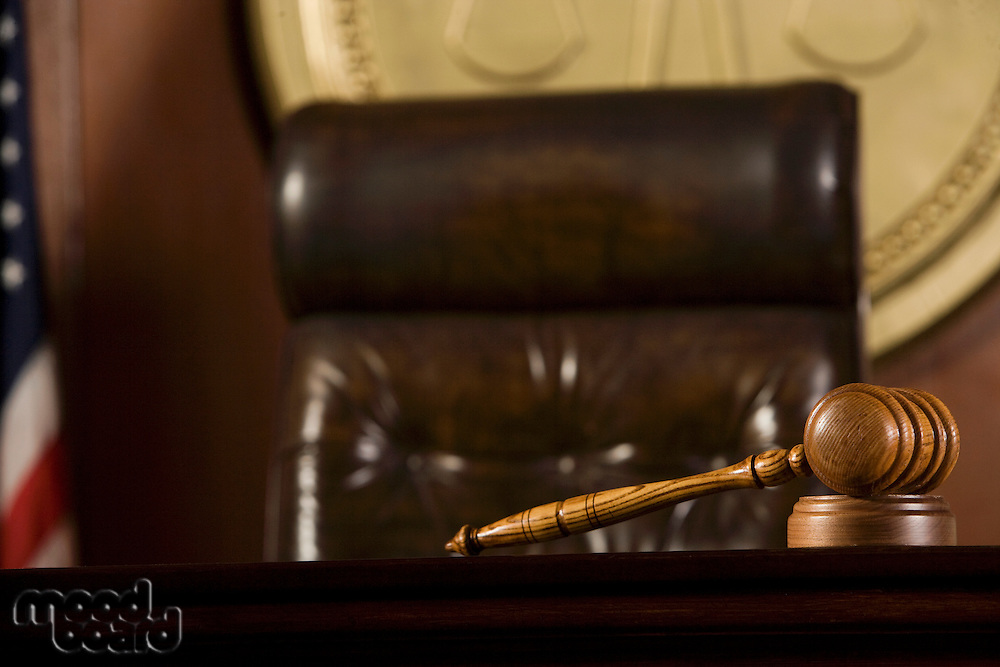 Gavel lying in a courtroom