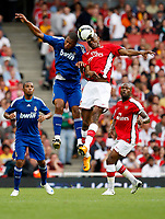 Photo: Richard Lane/Richard Lane Photography. Arsenal v Real Madrid. Emirates Cup. 03/08/2008. Arsenal's Abou Diaby (rt) and Real's Robinho challenge for the ball.