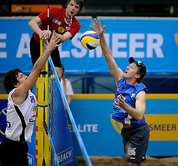 07-01-2011 VOLLEYBAL:  CEV SATELLITE INDOOR BEACHVOLLEYBALL: AALSMEER<br /> The first CEV Indoor beachvolleyball tounament / Thomas Kaczmarek GER<br /> ©2011-WWW.FOTOHOOGENDOORN.NL