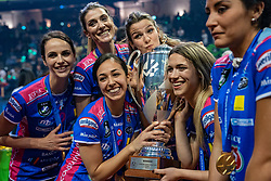 18-05-2019 GER: CEV CL Super Finals Igor Gorgonzola Novara - Imoco Volley Conegliano, Berlin<br /> Igor Gorgonzola Novara take women's title! Novara win 3-1 / Frederica Stufi #2 of Igor Gorgonzola Novara, Francesca Piccinini #12 of Igor Gorgonzola Novara, Letizia Camera #3 of Igor Gorgonzola Novara, Cristina Chirichella #10 of Igor Gorgonzola Novara, Giorgia Zannoni #15 of Igor Gorgonzola Novara