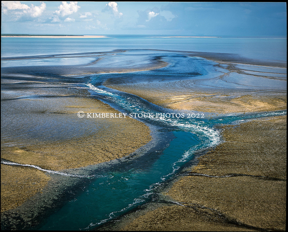 Aerial view of Montgomery Reef in Collier Bay on the Kimberley coast.