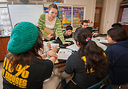 Joan Kampf Thibodeau teaches her 8th grade class at Burbank Middle School, May 16, 2013.