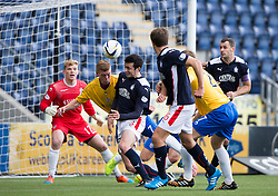 Falkirk's David Smith free kick goes n for goal number two.<br /> Half time : Falkirk 4 v 0 Cowdenbeath, Scottish Championship game played at The Falkirk Stadium, 25/10/2014.
