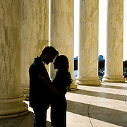 The columns at the Jefferson Memorial in Washington DC are the perfect backdrop for silhouette Engagement Portraits [Natural light, on location photographer: Maria Rock] Miami portrait photographer, Maria Rock, enjoys capturing couples' engagement photos on location.