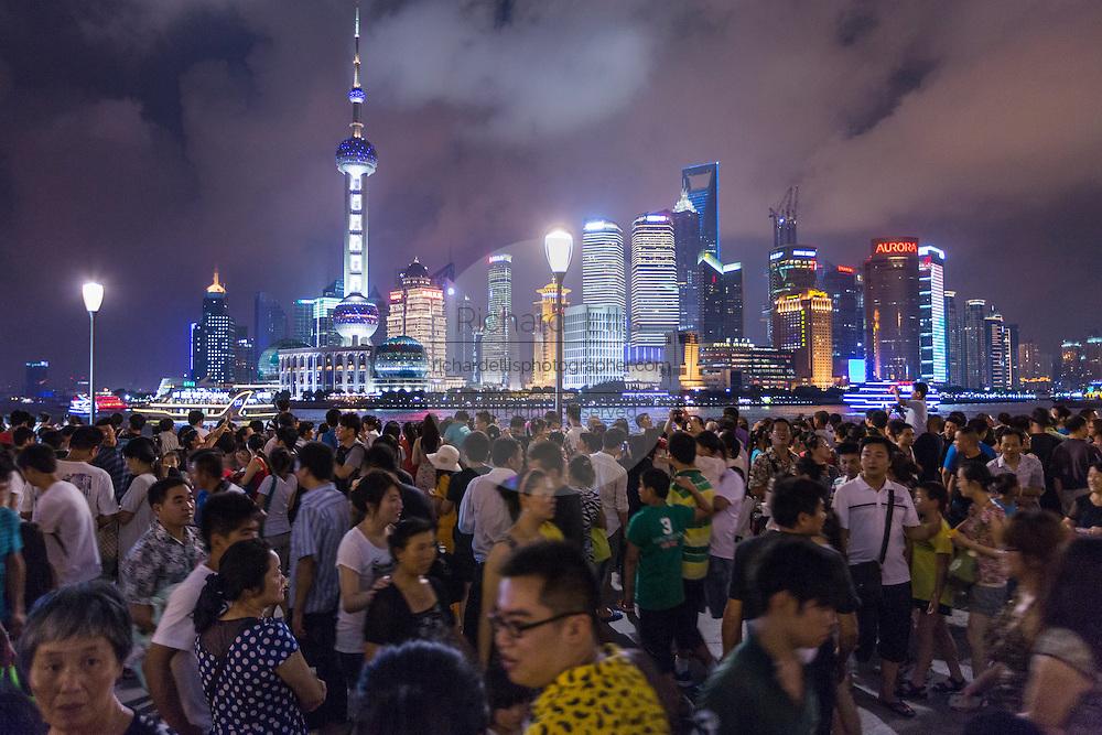 View of the Bund at night in Shanghai, China.