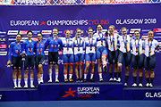 Podium, Women Team Pursuit, Great Britain, ARCHIBALD Katie, KENNY Laura, BARKER Elinor, EVANS Neah, DICKINSON Eleanor (gold medal), Italy PATERNOSTER Letizia, VALSECCHI Silvia, CAVALLI Marta, BALSAMO Elisa(silver medal), Germany, BECKER Charlotte, STOCK Gudrun, KROGER Mieke, BRENNAUER Lisa (bronze medal), during the UEC Track Cycling European Championships Glasgow 2018, at Sir Chris Hoy Velodrome, in Glasgow, Great Britain, Day 2, on August 3, 2018 - Photo Luca Bettini / BettiniPhoto / ProSportsImages / DPPI - Belgium out, Spain out, Italy out, Netherlands out -