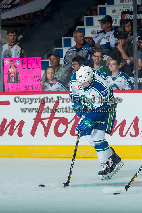 REGINA, SK - MAY 19: Beck Malenstyn #19 of Swift Current Broncos warms against the Acadie-Bathurst Titan at the Brandt Centre on May 19, 2018 in Regina, Canada. (Photo by Marissa Baecker/CHL Images)