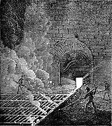 Pig Iron: tapping furnace and running molten iron into moulds to form pigs. Phoenix Iron Works,  Phoenixville, Pennsylvania.  From 'The Science Record', New York, 1873. Engraving.
