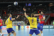 Raul Entrerrios (Spain) and Jesper Nielsen, Max Darj (Sweden) during the EHF 2018 Men's European Championship, Final Handball match between Spain and Sweden on January 28, 2018 at the Arena in Zagreb, Croatia - Photo Laurent Lairys / ProSportsImages / DPPI