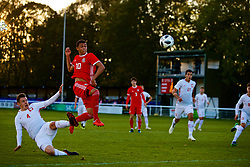 BANGOR, WALES - Monday, October 15, 2018: Wales' Brennan Johnson attempts to score the rebound after his penalty was saved during the UEFA Under-19 International Friendly match between Wales and Poland at the VSM Bangor Stadium. (Pic by Paul Greenwood/Propaganda)
