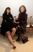 Cathy Horyn and Deda Blair, Jean Paul Gaultier couture fashion show, Paris, 21 January 2004. © Copyright Photograph by Dafydd Jones 66 Stockwell Park Rd. London SW9 0DA Tel 020 7733 0108 www.dafjones.com