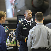 Libby Ezell | BUY AT PHOTOS.DJOURNAL.COM<br /> LTJG Benjamin Johnson from West Point talk to promising canidates at Military Service Academy day