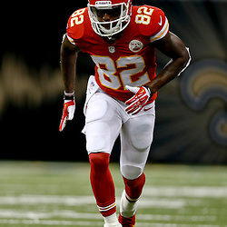 Aug 9, 2013; New Orleans, LA, USA; Kansas City Chiefs wide receiver Dwayne Bowe (82) against the New Orleans Saints during a preseason game at the Mercedes-Benz Superdome. The Saints defeated the Chiefs 17-13. Mandatory Credit: Derick E. Hingle-USA TODAY Sports