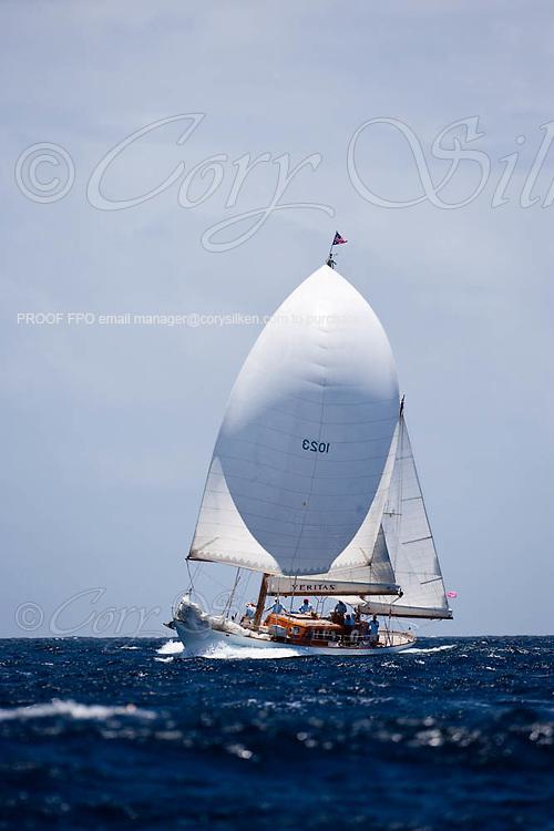 Veritas sailing in the Windward Race at the Antigua Classic Yacht Regatta.