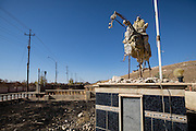 A statue of a horseman was destroyed by ISIS due to its perception as a false idol in the Yazidi town of Bashiqa which was liberated and left in ruins after months of fighting between Kurdish Peshmerga soldiers and ISIS fighters. Bashiqa, Iraq. Nov. 20, 2016. (Photo by Gabriel Romero ©2016)