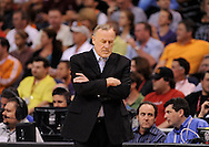 Mar. 12, 2012; Phoenix, AZ, USA;  Minnesota Timberwolves head coach Rick Adelman reacts on the sidelines while playing against the Phoenix Suns at the US Airways Center. The Timberwolves defeated the Suns 127-124.  Mandatory Credit: Jennifer Stewart-US PRESSWIRE..