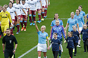 Manchester City Women's defender Steph Houghton (6) thumbs up to the fans before the FA Women's Super League match between Manchester City Women and West Ham United Women at the Sport City Academy Stadium, Manchester, United Kingdom on 17 November 2019.
