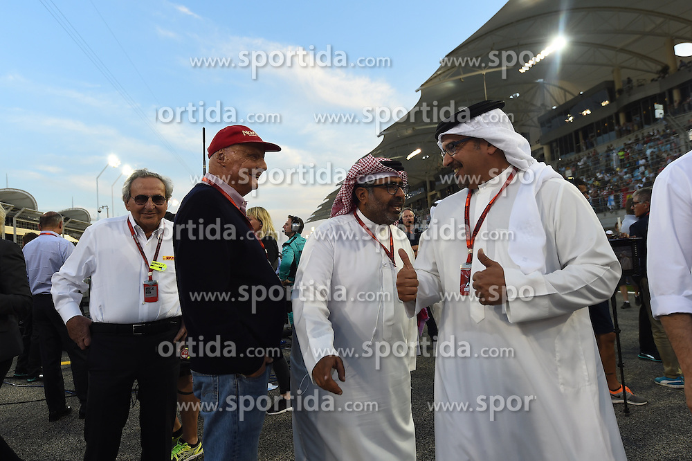 03.04.2016, International Circuit, Sakhir, BHR, FIA, Formel 1, Grand Prix von Bahrain, Rennen, im Bild Niki Lauda (AUT) Mercedes AMG F1 Non-Executive Chairman with Crown Prince Shaikh Salman bin Hamad Al Khalifa (BRN) and Abdallah Al Khalifa (BRN) Private Secretary to Crown Prince Shaikh Salman bin Hamad Al Khalifa on the grid with // during Race for the FIA Formula One Grand Prix of Bahrain at the International Circuit in Sakhir, Bahrain on 2016/04/03. EXPA Pictures &copy; 2016, PhotoCredit: EXPA/ Sutton Images/ Andre/<br /> <br /> *****ATTENTION - for AUT, SLO, CRO, SRB, BIH, MAZ only*****