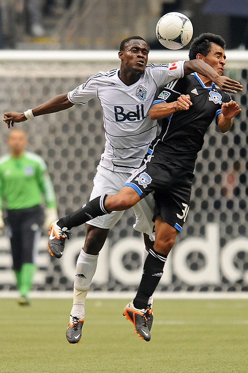 VANCOUVER, CANADA - MAY 5: Gershon Koffie #28 of the Vancouver Whitecaps collides with Rafael Baca #30 of the San Jose Earthquakes during the MLS match at BC Place on May, 5, 2012 in Vancouver, British Columbia, Canada. Vancouver won 2-1. (Photo by Derek Leung/Getty Images) *** LOCAL CAPTION *** Gershon Koffie;Rafael Baca
