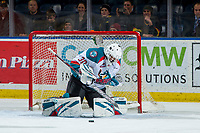 KELOWNA, CANADA - JANUARY 30: Roman Basran #30 of the Kelowna Rockets makes a save against the Seattle Thunderbirds  on January 30, 2019 at Prospera Place in Kelowna, British Columbia, Canada.  (Photo by Marissa Baecker/Shoot the Breeze)
