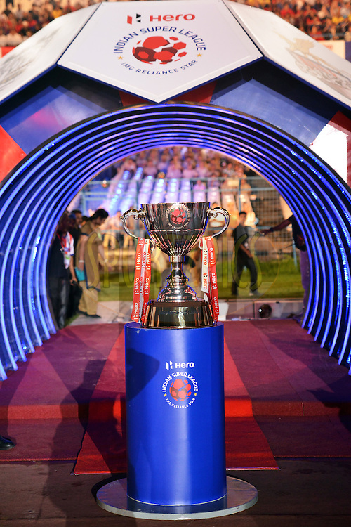 Trophy during The Opening Ceremony of the Hero Indian Super League held at the Salt Lake Stadium in Kolkata, West Bengal, India on the 12th October 2014.<br /> <br /> Photo by:  Tamal Das/ HISL/ SPORTZPICS