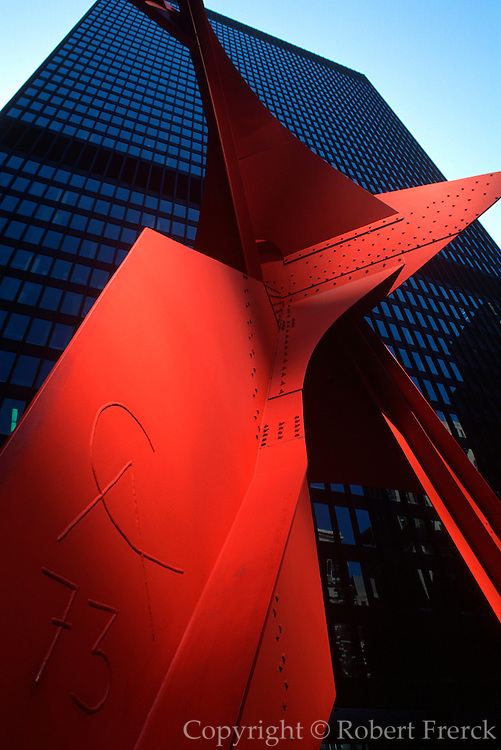 CHICAGO, SCULPTURE 'Flamingo' by Alexander Calder c. 1973 located in Federal Plaza in Loop area