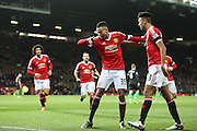 Jesse Lingard of Manchester United celebrates his goal during the Barclays Premier League match between Manchester United and Stoke City at Old Trafford, Manchester, England on 2 February 2016. Photo by Phil Duncan.