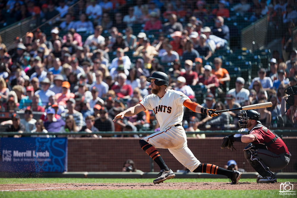 San Francisco Giants right fielder Hunter Pence (8) digs out of the batter's box after hitting against the Arizona Diamondbacks at AT&T Park in San Francisco, California, on August 6, 2017. (Stan Olszewski/Special to S.F. Examiner)