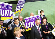 © Licensed to London News Pictures. 01/03/2013. Eastleigh, UK UKIP leader Nigel Farage and UKIP Candidate Diane James arrive at the count. Campaigning in the weeks ahead of The Liberal Democrats winning the Eastleigh by-election, with the UK Independence Party pushing the Conservatives into third place.. Photo credit : Stephen Simpson/LNP