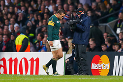 South Africa Winger Bryan Habana goes off dejected after being shown a yellow card - Mandatory byline: Rogan Thomson/JMP - 07966 386802 - 24/10/2015 - RUGBY UNION - Twickenham Stadium - London, England - South Africa v Wales - Rugby World Cup 2015 Semi Finals.