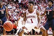BLOOMINGTON, IN - FEBRUARY 14,  Guard Aljami Durham #1 of the Indiana Hoosiers celebrates dunk during the game against the Illinois Fighting Illini and the Indiana Hoosiers at Simon Skjodt Assembly Hall in Bloomington, IN Photo By Craig Bisacre/Indiana Athletics