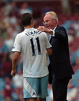 Photo: Tony Oudot. <br /> West Ham United v Manchester City. Barclays Premiership. 11/08/2007. <br /> Manchester City manager Sven Goran Eriksson congratulates Elano Blumer at the end of the match
