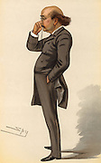 Dion Boucicault (also Bourcicault, and Dionysius Lardner Boursiquot) (1820-1890) Irish-born British actor, playwright and producer. Author of Sensation Dramas. His first success came in 1841 with 'London Assurance' produced by Madame Vestris.  Other plays include 'The Corsican Brothers' (1852) an adaptation from the French, 'The Octoroon' (1859) the first play to treat seriously racial discrimination in the USA, and 'The Colleen Bawn' (1860) the first of his highly successful Irish plays.  Cartoon by 'Spy'  (Leslie Ward, 1851-1922) from 'Vanity Fair'  (London, 1882). Chromolithograph.