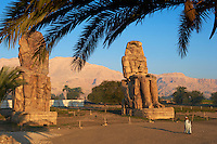 Egypte, Haute Egypte, vallée du Nil, rive gauche de Thèbes, environs de Louxor, les colosses de Memnon classés Patrimoine Mondial de l'UNESCO // Egypt, Nile Valley, Luxor, Thebes, West bank of the River Nile, Two giant statues known as the Colossi of Memnon carved to represent the pharaoh Amenhotep III of the dynasty XVIII