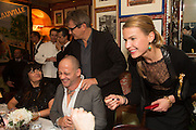 PLAXY LOCATELLI; DINOS CHAPMAN; JAY JOPLING; INDRE SERPYTYTE;, Charles Finch and  Jay Jopling host dinner in celebration of Frieze Art Fair at the Birley Group's Harry's Bar. London. 10 October 2012.