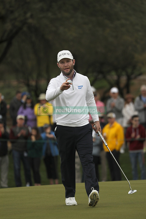 February 3, 2019 - Scottsdale, AZ, U.S. - SCOTTSDALE, AZ - FEBRUARY 03: Branden Grace acknowledges the fans after making a birdie at the final round of the Waste Management Phoenix Open on February 3, 2019, at TPC Scottsdale in Scottsdale, Arizona.  (Photo by Will Powers/Icon Sportswire) (Credit Image: © Will Powers/Icon SMI via ZUMA Press)