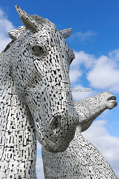 The Kelpies are 30-metre high horse-head sculptures, next to a new extension to the Forth and Clyde Canal, in The Helix. Sculptures were designed by sculptor Andy Scott. Scotland. Photos Pako Mera
