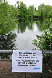 © Licensed to London News Pictures. 18/05/2016<br /> Blue algae is the possible causing for the poisoning of ten dogs at Brooklands Lakes,Powder Mill Lane in Dartford,Kent.   Three of the ten dogs have died after drinking from the lake yesterday (17.05.2016).  The lake has been closed by the police and Dartford council.<br /> <br /> (Byline:Grant Falvey/LNP)