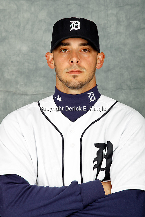 February 28, 2012; Lakeland, FL, USA; Detroit Tigers relief pitcher David Pauley (34) poses for photo day in the rec room at the Detroit Tigers Headquarters.  Mandatory Credit: Derick E. Hingle-US PRESSWIRE