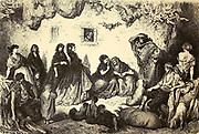 La Bonne Aventure au Sacro-Monte [The Good Adventure at Sacro-Monte] Page illustration from the book 'L'Espagne' [Spain] by Davillier, Jean Charles, barón, 1823-1883; Doré, Gustave, 1832-1883; Published in Paris, France by Libreria Hachette, in 1874