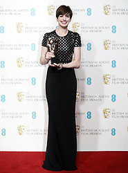 Anne Hathaway poses with her Best Supporting Actress Award in the press room of the BAFTA British Academy Film Awards 2013 at the Royal Opera House in London, Britain, Sunday February 10, 2013. Photo by Imago / i-Images. UK ONLY..