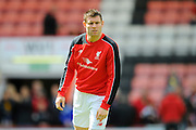Liverpool midfielder James Milner warming up before the Barclays Premier League match between Bournemouth and Liverpool at the Goldsands Stadium, Bournemouth, England on 17 April 2016. Photo by Graham Hunt.