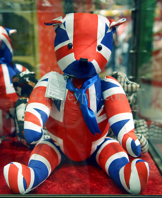 22 April 2011. London, England..A celebration teddy bear to mark the upcoming Royal wedding in Hamley's toy store, perhaps the most famous toy shop in the world is packed with tourists on London's Regent Street in the heart of London's West End. .Photo; Charlie Varley.